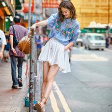 原创学xu风显瘦短裙si松百搭薄式高腰伞裙减龄学生半身裤裙夏