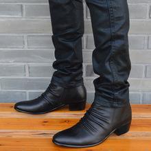 尖头皮xu韩款潮流男si英伦真皮靴男皮靴马丁靴时尚靴棉靴新式
