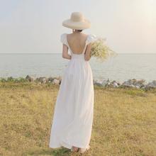 三亚旅xu衣服棉麻沙ai色复古露背长裙吊带连衣裙仙女裙度假