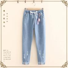 16春xu装12少女fm初中学生14大童15岁少女时尚破洞九分裤牛仔裤