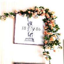 72头xu真玫瑰花藤fm藤条藤蔓假花空调管道室内婚庆装饰 花条