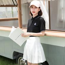 学院风xu作服poliu装裙超市服务员前台蛋糕店技师女t恤定制log