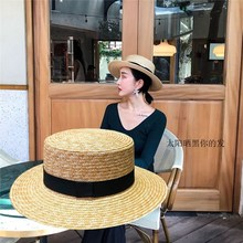 草编麦xu平顶草帽女ut清新礼帽出游海边防晒遮阳帽夏沙滩帽子
