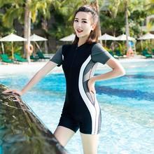 运动泳xu女连体平角ua显瘦胖mm200斤加大码学生温泉泳装速干