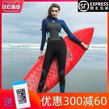 HISxwA潜水服女hwMM防寒保暖水母浮潜性感显瘦长袖防晒连体游泳衣