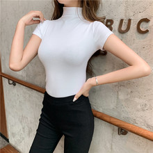 白体t恤女内xw(小)衫女20mr夏季短袖体恤紧身显瘦高领女士打底衫