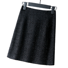 简约毛呢包臀裙女格子短裙2020