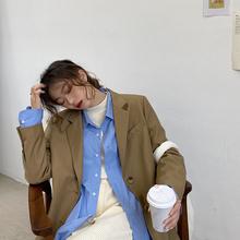 安酒月xx红(小)西装外mh2021春秋新式韩款时尚宽松休闲气质西服