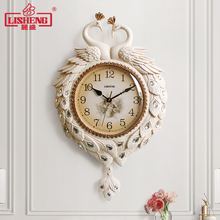 丽盛欧xz孔雀挂钟静vh大气挂表卧室摆钟家用时尚时钟石英钟表