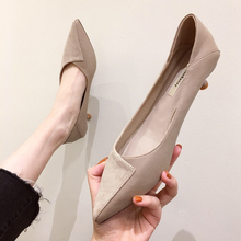 单鞋女xz中跟OL百wh鞋子2020春季新式仙女风尖头矮跟网红女鞋