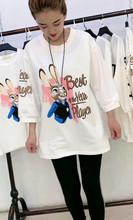 欧洲站y4恤卡通兔七y4装T恤春夏新式圆领宽松显瘦卡通(小)熊T恤