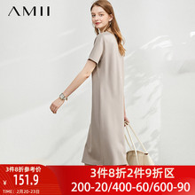 amiya极简主义旗it装高端2021新式短袖直筒连衣裙子气质春夏季