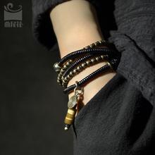 原创设ya复古混搭铜ki层手链 个性饰品檀木男女情侣手串项链