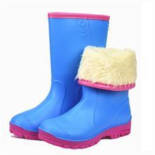 冬季加棉雨ya女士时尚加ki雨靴防水胶鞋水鞋防滑水靴平底胶靴