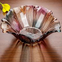 网红玻ya水果盘北欧o8s创意(小)精致现代个性家用客厅水晶盘子碟