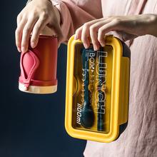 便携分ya饭盒带餐具o8可微波炉加热分格大容量学生单层便当盒