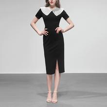 黑色修ya长裙气质包o8短袖显瘦中长式连衣裙女装2020新式夏装