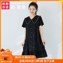 范奎恩ya码女装韩款o8连衣裙2020夏装新式显瘦短袖(小)清新裙子
