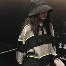 王少女ya店2019o8古polo领条纹毛衣宽松外穿网红慵懒风针织衫