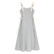 VEGya C/背带o8女2020新式夏格子绑带很仙的法国(小)众桔梗裙子