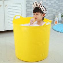 加高大ya泡澡桶沐浴un洗澡桶塑料(小)孩婴儿泡澡桶宝宝游泳澡盆