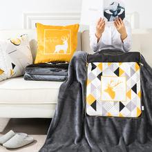黑金iyb0s北欧抱lx用办公室汽车沙发靠枕垫空调被短毛绒毯子
