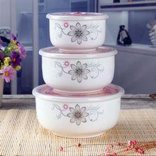 上班族yc瓷饭盒微波xs专用保鲜保温便当餐盒带盖密封碗套装