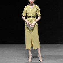 夏装2021yc3款女装衬sf长裙气质修身OL显瘦中长款连衣裙