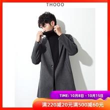 [THydOO]一粒qo呢羊毛大衣男中长式风衣秋冬韩款英伦风外套ins