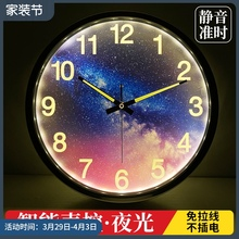 智能夜ye声控挂钟客ud卧室强夜光数字时钟静音金属墙钟14英寸