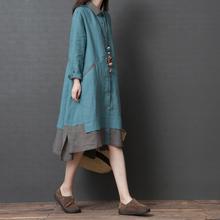 棉麻衬ye裙女201ib秋季宽松大码显瘦文艺减龄中长式拼色连衣裙