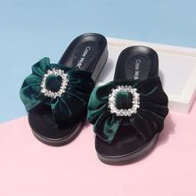 厚底平跟拖鞋女ye42021ib时尚外穿松糕蝴蝶结水钻一字凉拖鞋
