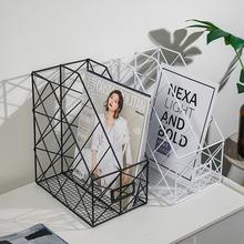 北欧简ye铁艺书架收ib公用品整理置物桌面文件夹收纳盒