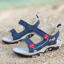 夏天儿ye凉鞋男孩沙ib款凉鞋6防滑魔术扣7软底8大童(小)学生鞋