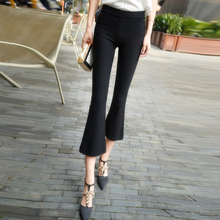 202ye春秋式微喇ib九分裤高腰垂感显瘦西装八分裤黑色休闲长裤