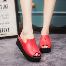 欧美时尚简约女ye4拖鞋松糕ib鞋鱼嘴鞋舒适防水台坡跟凉拖女