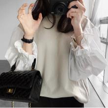 现货韩国2021ye5新式长袖ib尚设计感上衣拼接宽松灯笼袖卫衣