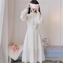 2021春季ye新法国(小)众ib端很仙的长袖蕾丝复古翻领连衣裙长裙
