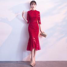 旗袍平ye可穿202hu改良款红色蕾丝结婚礼服连衣裙女