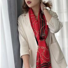 不可缺ye的一抹红色hu大方~100%桑蚕丝围巾春季新式