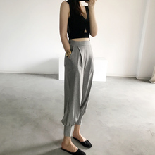 休闲束ye裤女式棉运hu收口九分口袋松紧腰显瘦外穿宽松哈伦裤