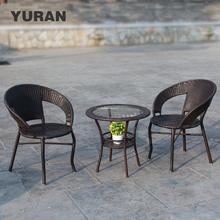 藤椅茶ye三件套户外an桌椅网红休闲室内藤编单的组合花园腾椅