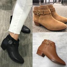 MK女yf真皮粗高跟ss短靴(小)皮靴英伦风磨砂马丁靴骑士百搭裸靴