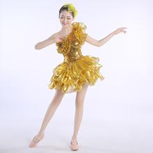新新式yf色爵士舞亮pc舞蹈服装舞台表演蓬蓬裙成的