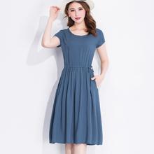 新式夏yg女装裙子棉af裙女绵绸短袖纯色修身显瘦中长式沙滩裙