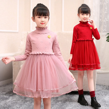 女童秋yg装新年洋气lc羊毛衣长袖(小)女孩公主裙加绒