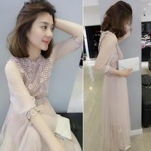 欧洲站yh夏女装20lt式欧货潮粉红色收腰网纱超仙的蕾丝连衣裙子