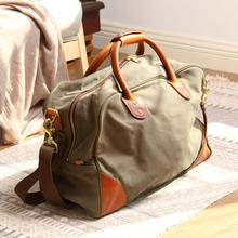 [yiazu]真皮旅行包男大容量帆布行旅袋休闲