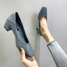 14两yi单鞋202bo新式女鞋潮鞋中跟粗跟高跟鞋方头奶奶鞋女浅口