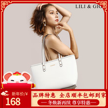 LILyi&xiI包包女2020新式真皮购物袋 托特包单肩手提包妈咪包女